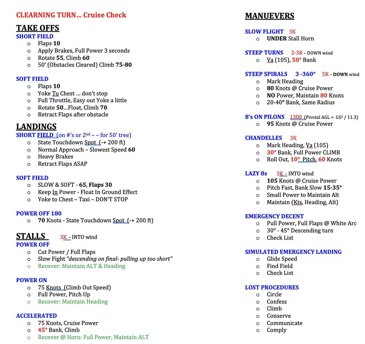 Aviation Single Engine Commercial Checkride Maneuvers Checklist